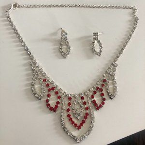 White / Red Stone Fitting Necklace / Earring set